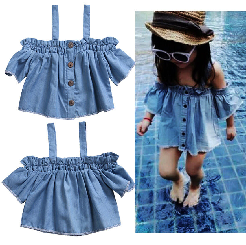 6f9c1ab35 Details about Toddler Kids Baby Girls Denim Ruffles Off Shoulder Blouse Tops  T-Shirt Clothes