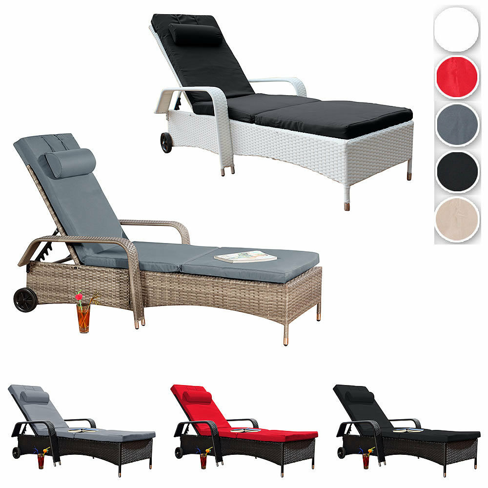 gartenliege rattan relaxliege sonnenliege polyrattan lounge terrassen liege ebay. Black Bedroom Furniture Sets. Home Design Ideas