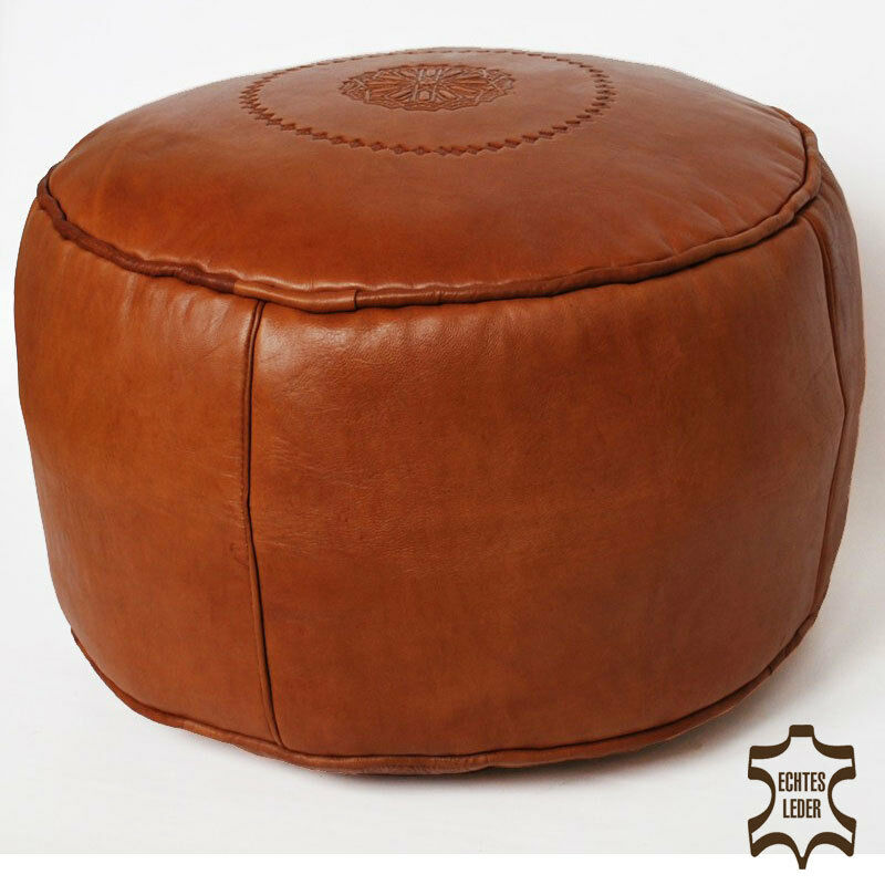 marokkanischer leder sitzkissen hocker handarbeit ottoman rund sale cognac d42cm ebay. Black Bedroom Furniture Sets. Home Design Ideas