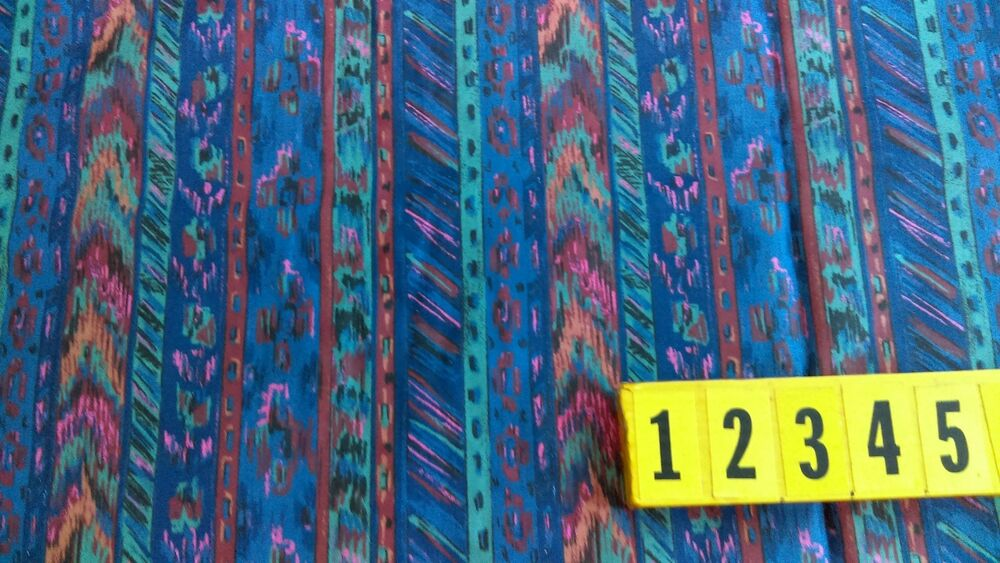 140cm Wide Cotton Fabric Multicolour Abstract Stripe  Design New by Dcf