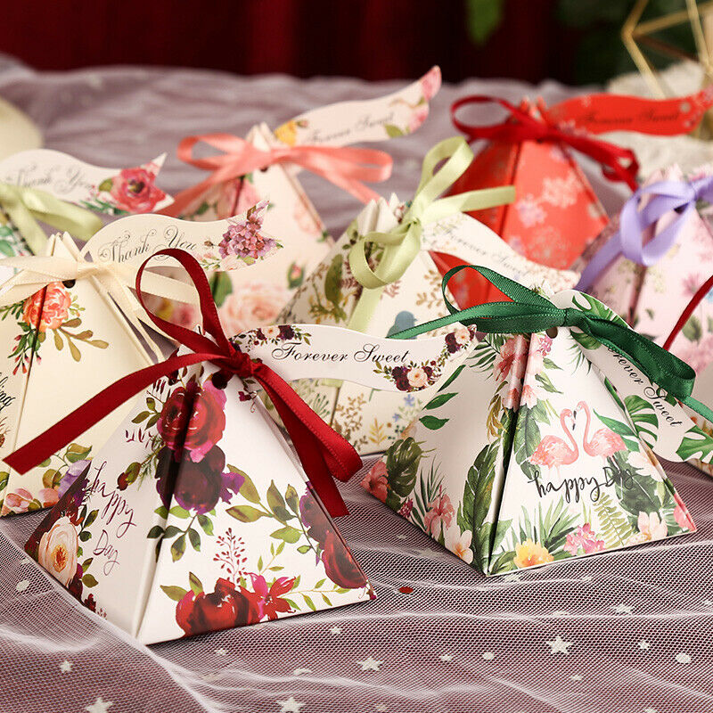 2018 NEW 10-100X Triangle Paper Party Wedding Favour Sweet Boxes + ...