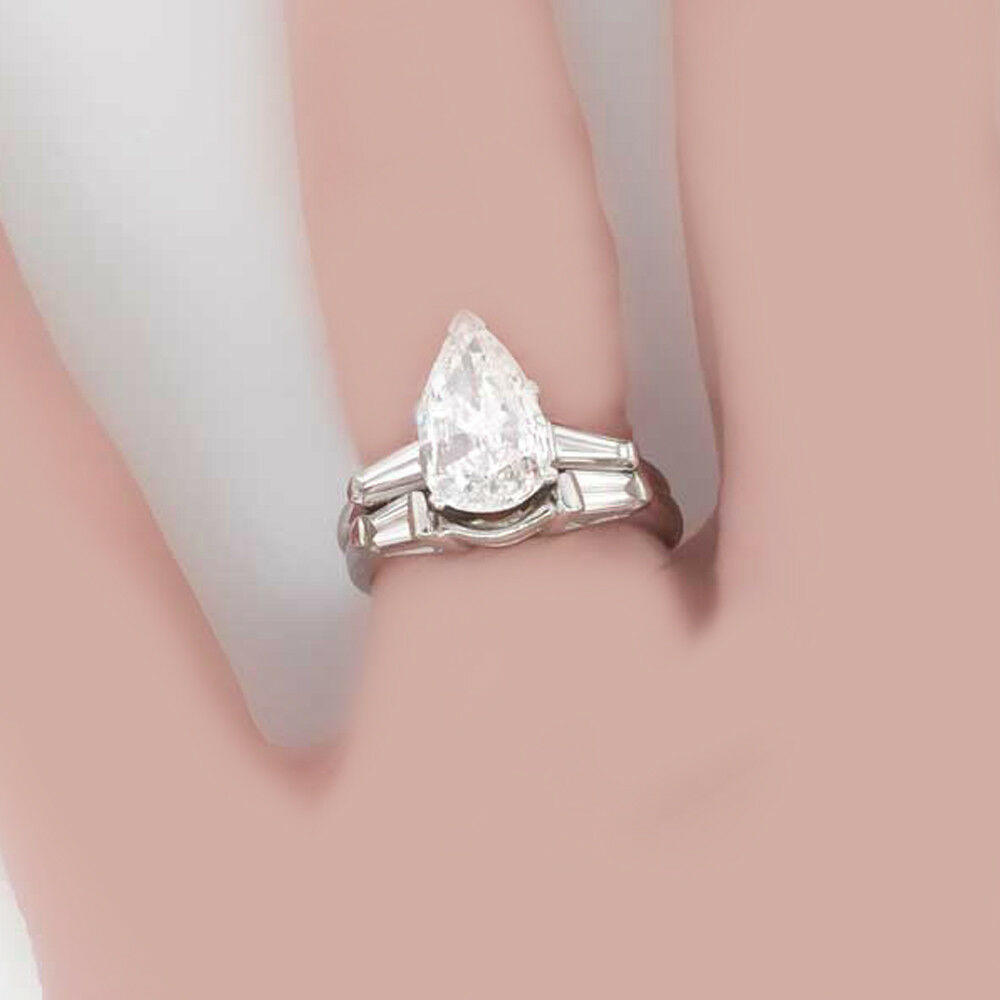 GIA Certified VINTAGE INSPIRED Pear Cut Diamond Engagement Ring 1.40 ...