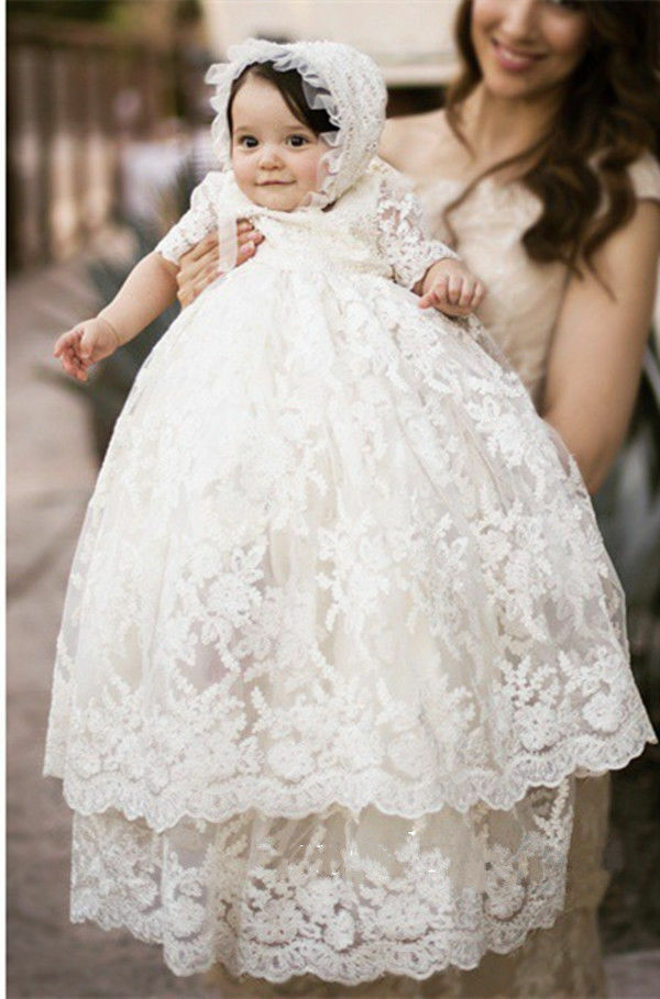 Vintage White Ivory Baby Girls Christening Gown Lace Short Sleeve ...