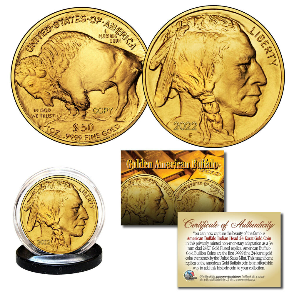 2017 24k Gold Plated 50 American Gold Buffalo Indian Head