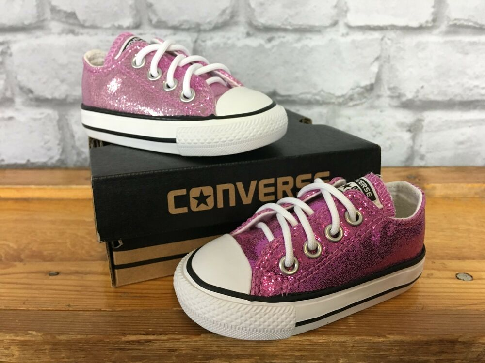 bb66a0c5309e Details about CONVERSE UK 3 EU 19 PINK GLITTER ALL STAR GIRLS TODDLER CHILDRENS  TRAINERS