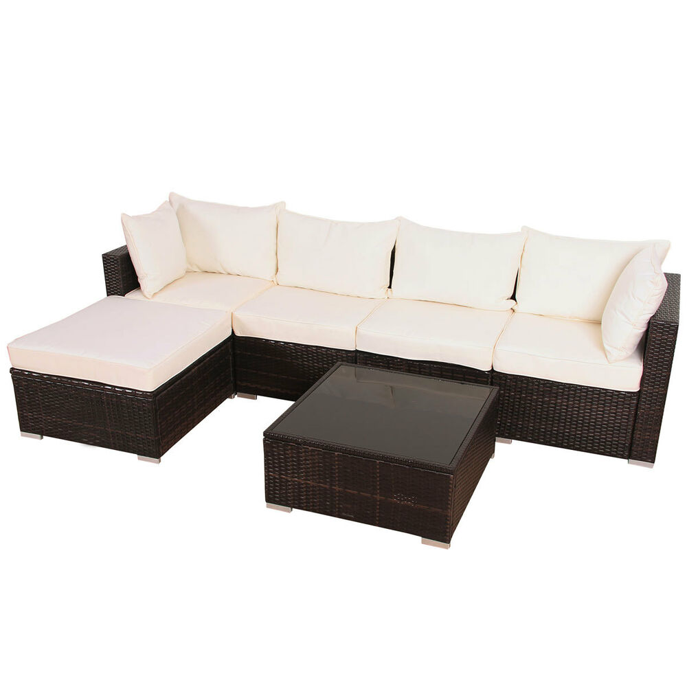 xl polyrattan garnitur lounge set gartenm bel couch sofa rattan braun garten alu ebay. Black Bedroom Furniture Sets. Home Design Ideas