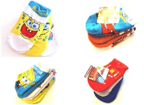 Boy's Baby Infant  3-Pairs Safety Toes Socks Spongebob Cars Mater McQueen NWT