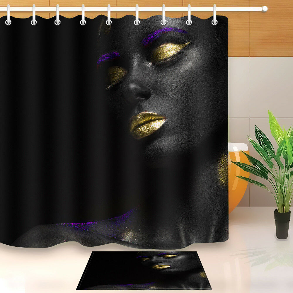 Details About Afro Cosmetic Make Up Black Girl Shower Curtain Complete Bathroom Set Bath Mat