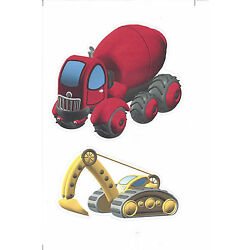 Construction Vehicles with Red Truck Appliques KID5072
