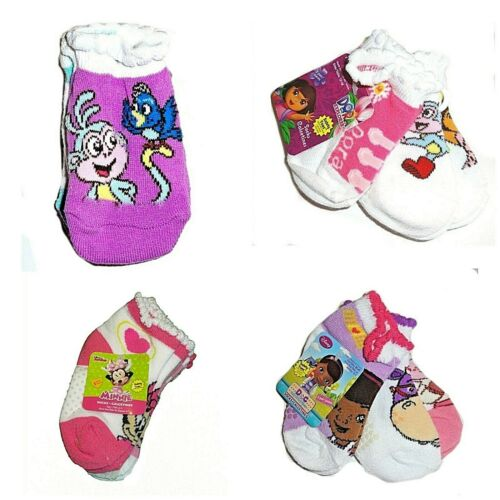 Girl's Toddler Baby Safety Toes 3-Pairs Socks Dora The Explorer Minnie Mouse NWT