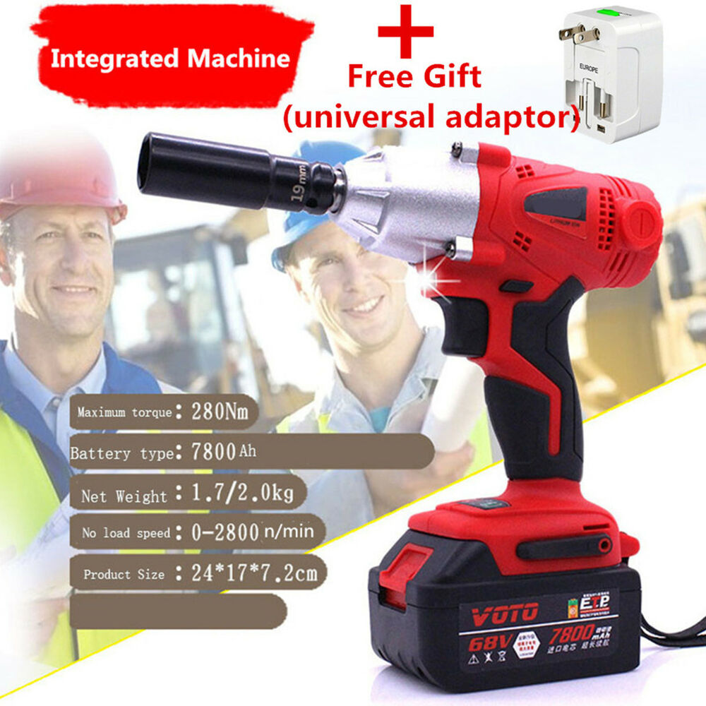 Details About 280n M 68v Integrated Electric Impact Wrench 7800ah Lithium Battery With Adaptor