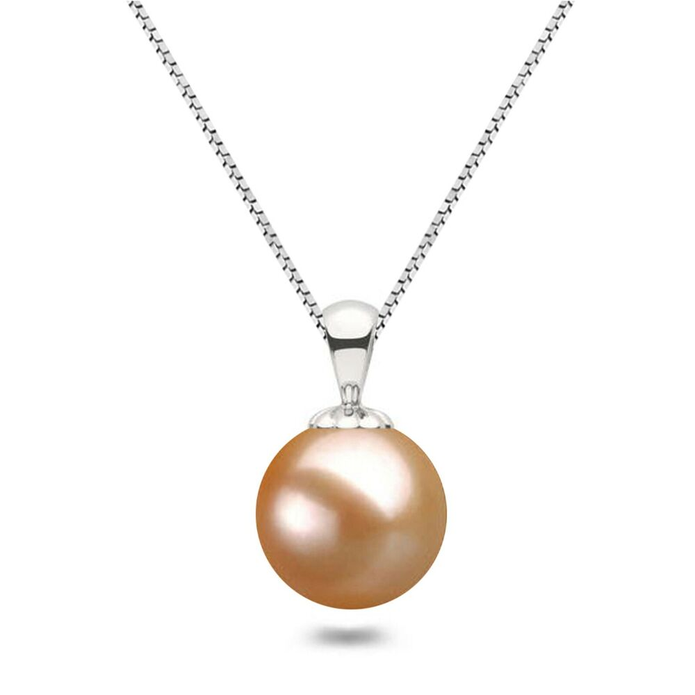 """Sterling Silver 8.5-9mm round Pink Freshwater Pearl Pendant Chain Necklace 18/"""""""