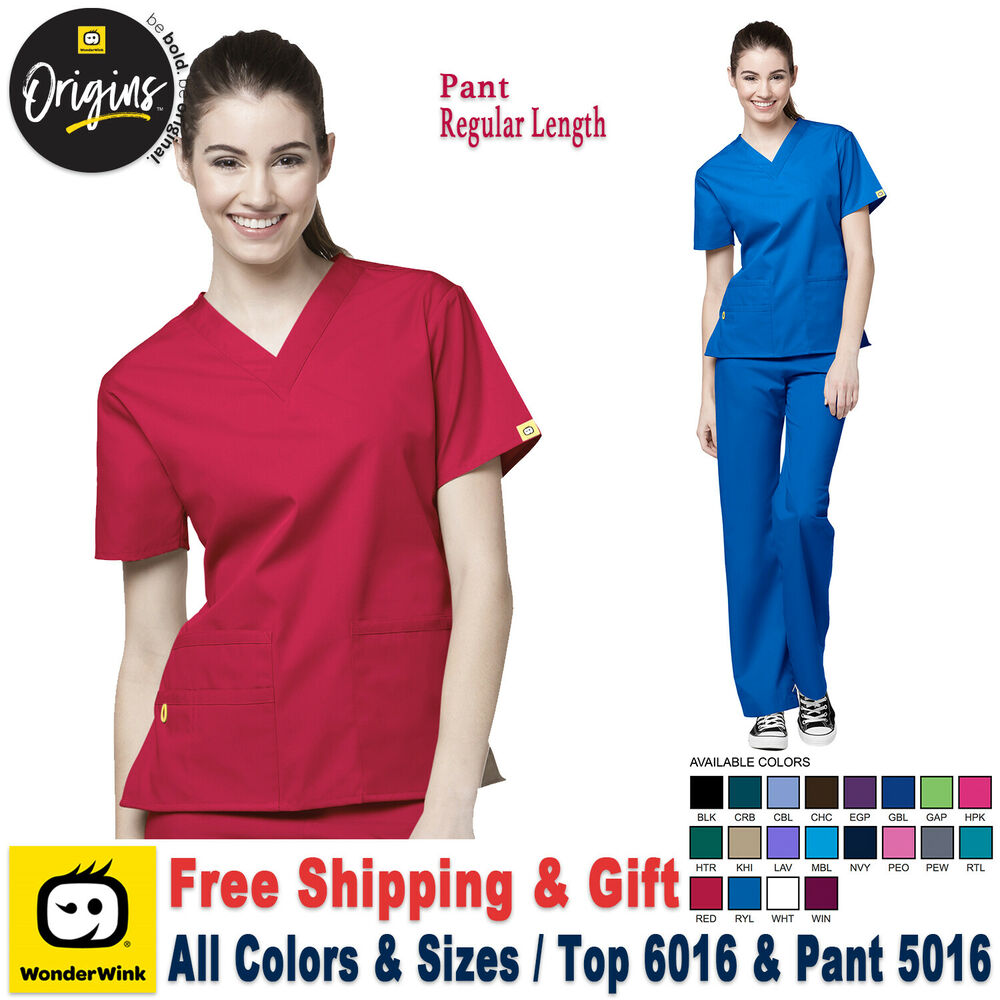 0f7e0c061b0 WonderWink Scrubs Set ORIGINS V-Neck Top & Elastic Waistband  Pant_6016/5016_R | eBay