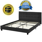 New Queen Size Faux Leather Platform Bed Frame  Slats Upholstered Headboard