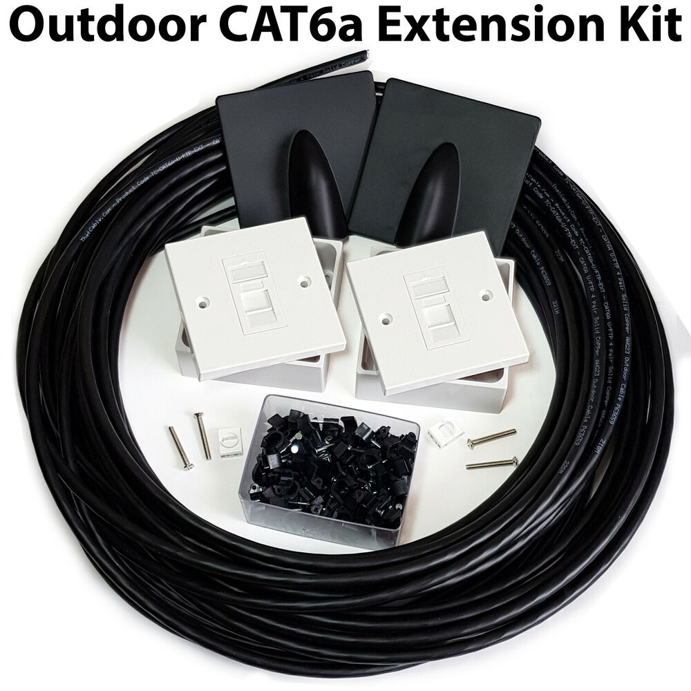 25m Cat6a Internet Extension Kit Outdoor External Cable Rj45 Wall Cat5e Jack Wiring Diagram R 568 Face Plate 5056199803569 Ebay