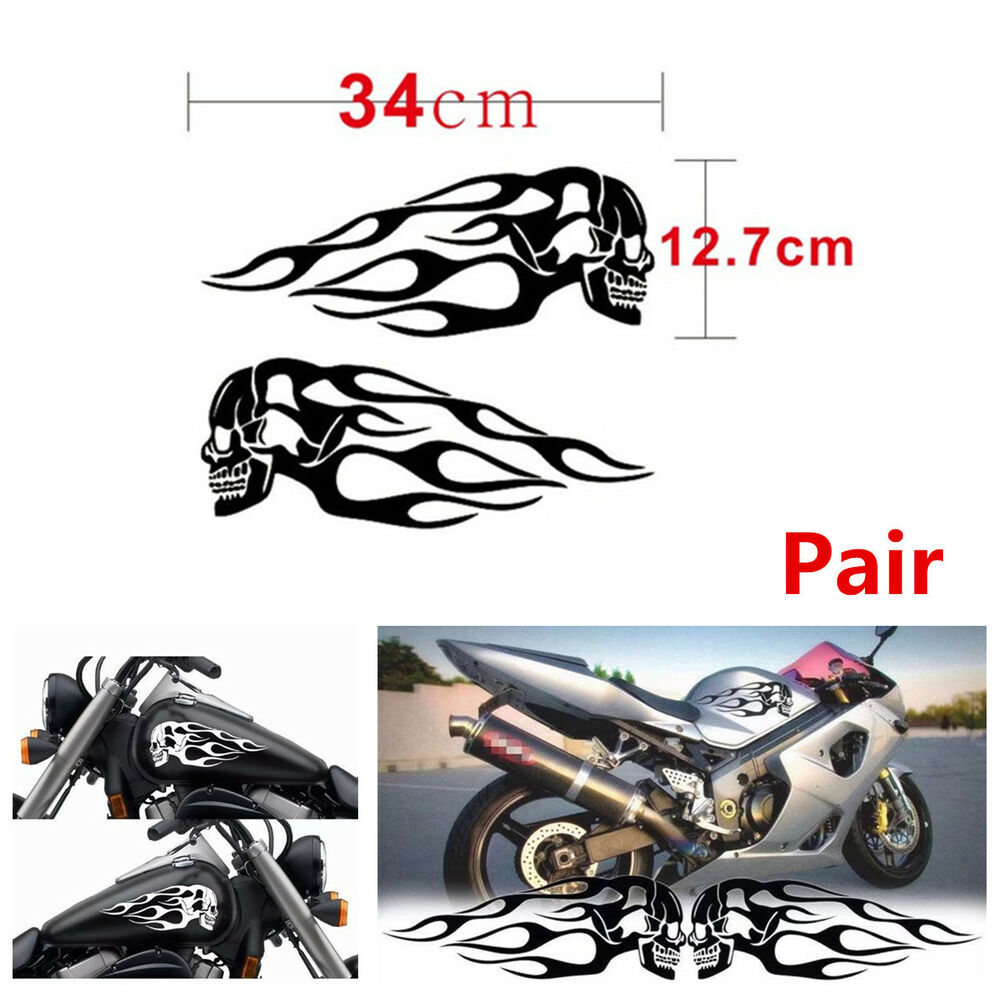 Details about cool pair black skull flame stripes motorcycle gas tank decal sticker 34x12 7cm