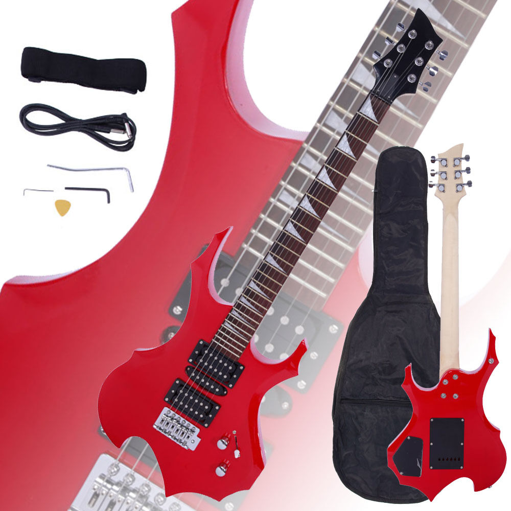 new flame type electric guitar red gigbag strap cord pick tremolo bar ebay. Black Bedroom Furniture Sets. Home Design Ideas