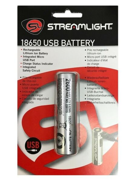 Streamlight 22101 Li-Ion Rechargeable Lithium Ion Battery Replacement 18650