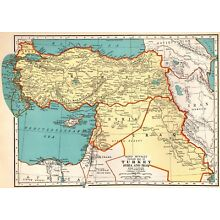 1939 Vintage MAP of TURKEY Syria IRAQ Map Gallery Wall Art Middle East Map 5485