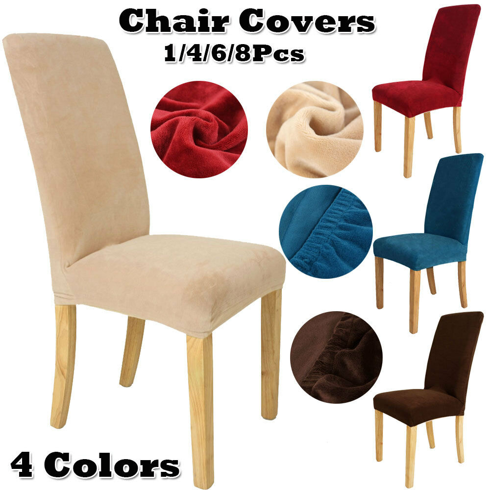 Details About 1 4 6 8X Dining Room Chair Covers Stretch Anti Dust Slipcover Protector Colors