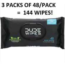 144 DUDE Butt Wipes Flushable Wet 3x48 Count Dispensers Unscented Vitamin-E Aloe