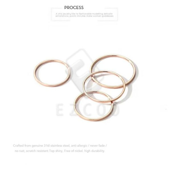 1mm Women Stainless Steel Plain Band Stackable Knuckle Midi Finger Ring ST1-3