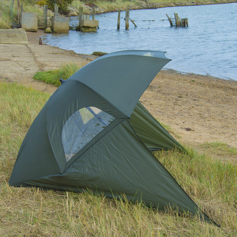 Details About Carp Sea Fishing Umbrella Shelter With Top Tilt Tent Brolly Bivvy Zipped Sides