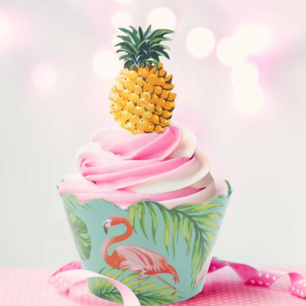 24pcs/set Paper Cupcake Wrappers Flamingo Pineapple Cake Toppers ...