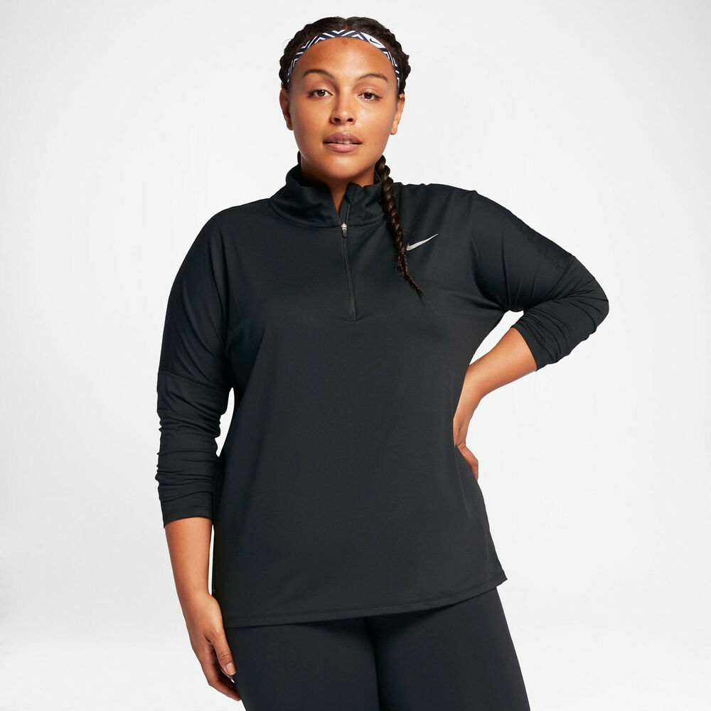 c777349db87 Details about Nike Element Women s Running Top 1X Black Gym Casual Yoga Plus  Size New
