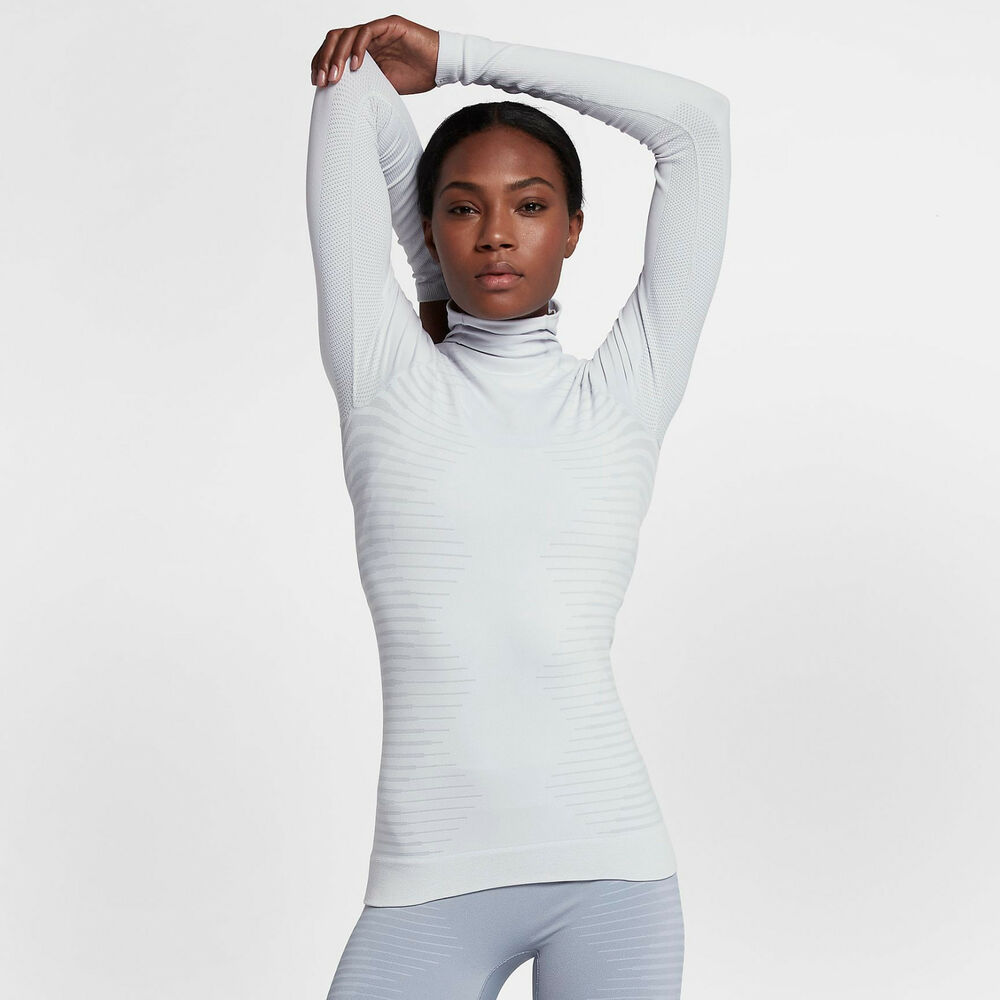 86f58de2d056e Details about Nike Pro HyperWarm Women's Long Sleeve Training Top XL White  Wolf Gray Gym