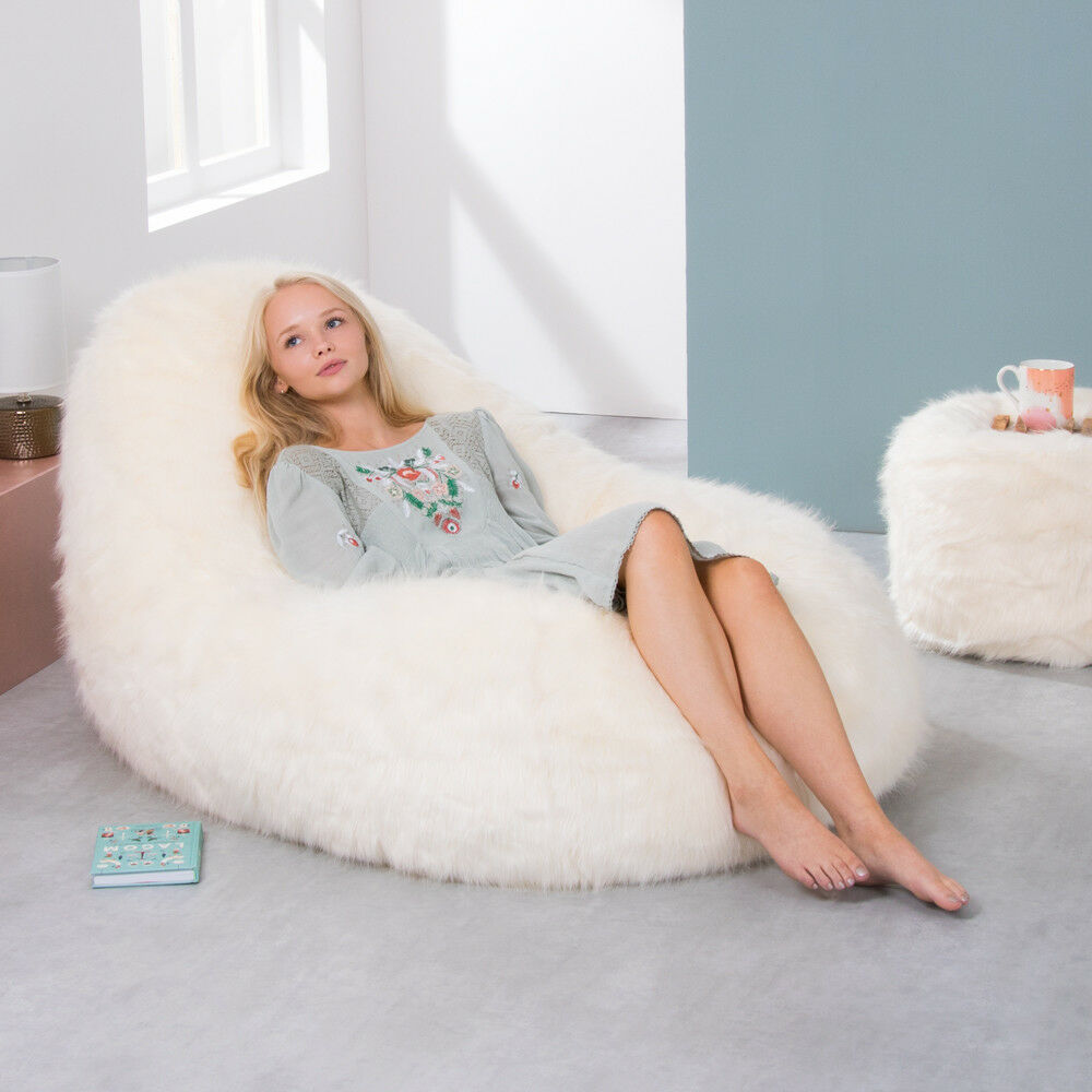 d96dceccd5cc Details about icon® Dream Lounger Faux Fur Bean Bag Giant Beanbag Day Bed  Natural Cream