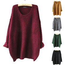 Oversized Women Loose Sexy Baggy Chunky Warm Knitted Jumper Top Thick Sweater US
