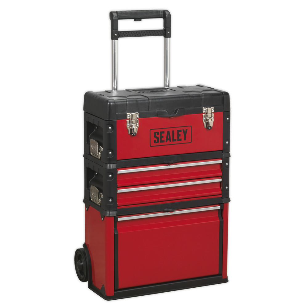 Ap548 Sealey Mobile Steel Composite Toolbox 3 Compartment