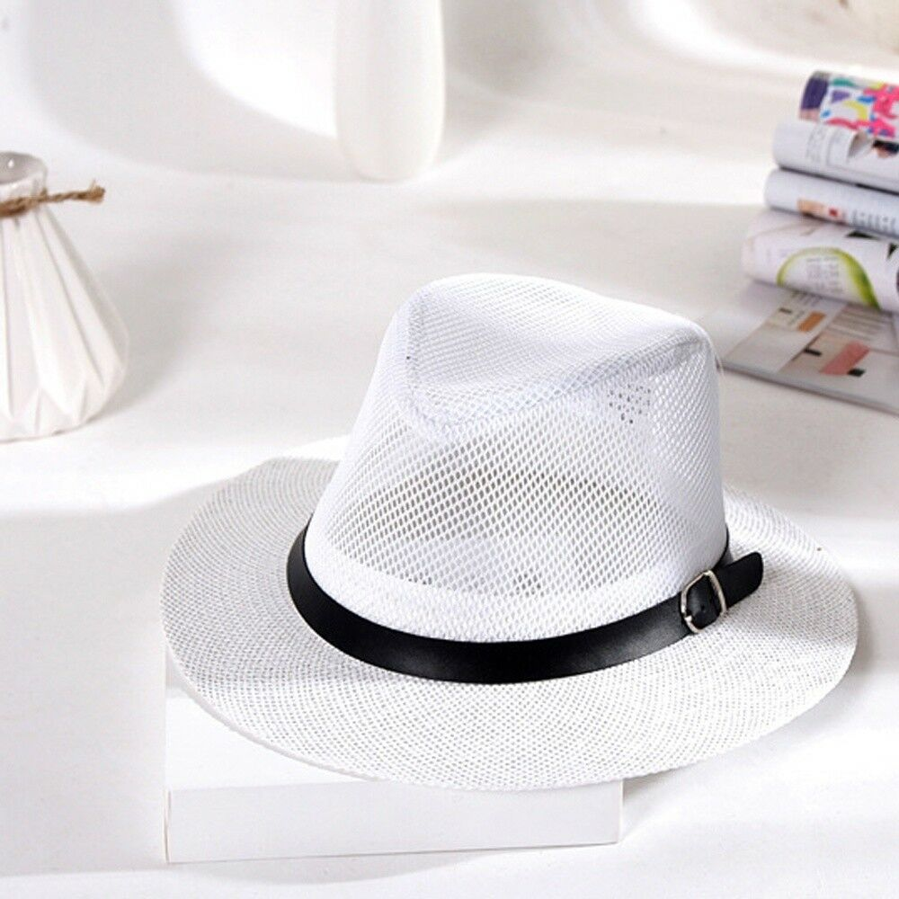 eabf2877ad520 Details about Stylish Hat Summer Straw Hat Cap Topee Fedora Trilby Panama  Hat Cap Jazz Hat IN9