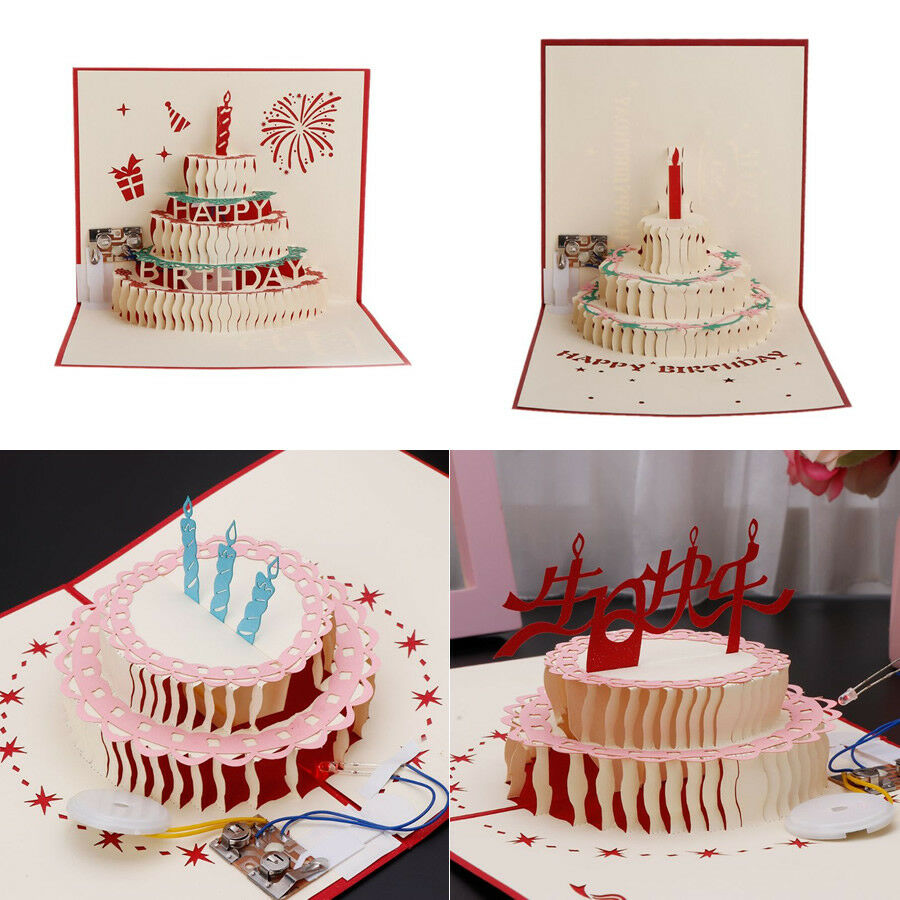 Details About 3D Pop Up Greeting Card Happy Birthday Cake Music LED Postcard With Envelope