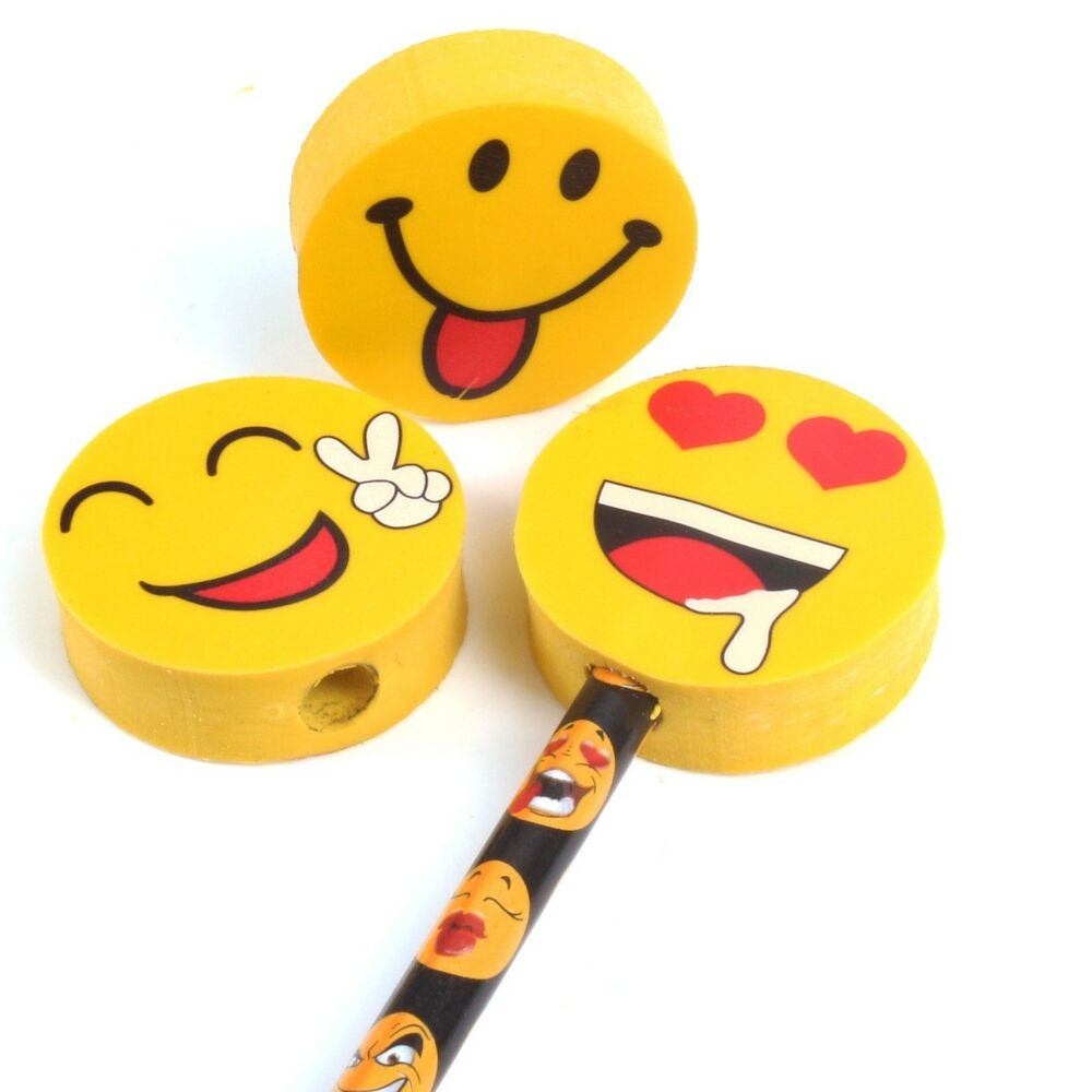 15x Emotion Pencils Rubber Toppers Fun Stationery Emoji Faces Draw