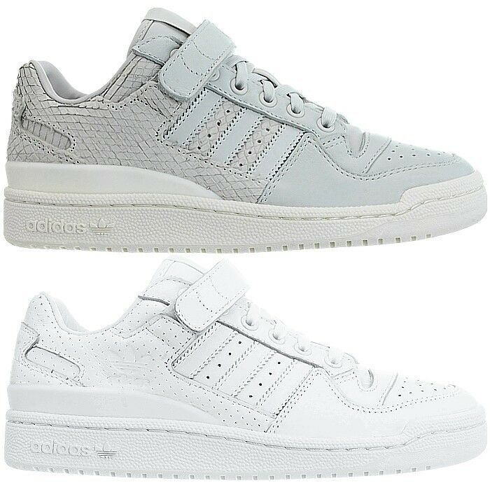 more photos 38c5c 8fcf7 Details about Adidas Forum Lo womens low-top sneakers gray white casual  trainers leather NEW