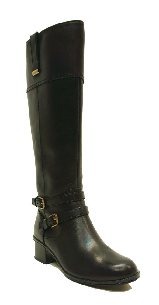 eb0b3e048 Details about Bandolino Black Leather Tall Riding Boots CARLOTTA Women's  Shoes Wide Calf US 5
