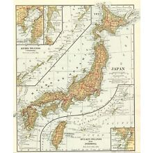 1907 Antique Map of JAPAN Vintage Collectible Original Japan Atlas Map 5818