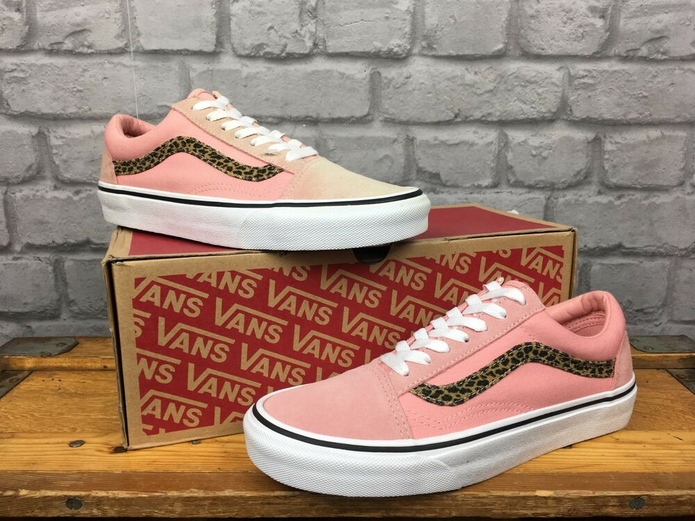 9e004e3cb094 VANS LADIES OLD SKOOL BLOSSOM PINK LEOPARD CANVAS SUEDE TRAINERS VARIOUS  SIZES