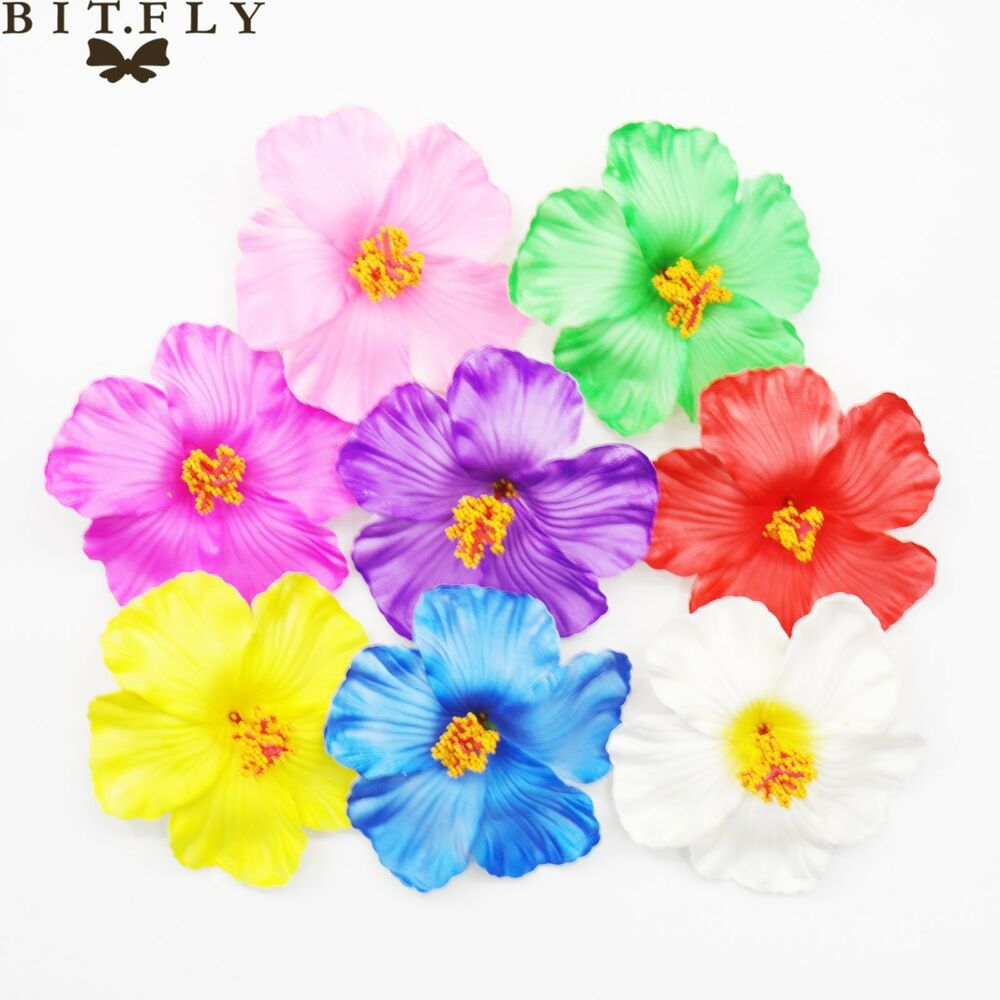 10 30 50 100 Artificial Silk Hibiscus Flowers Heads Wedding Party