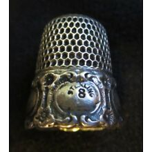 antique thimble Simon Bros. Sterling size 8 Repousse Medallion (?)