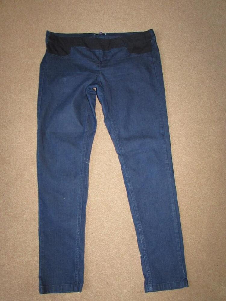 5891a4b54a097 ASOS Dark Blue Indigo Under Bump Skinny MATERNITY Jeans Jeggings Size 16  Leg 31