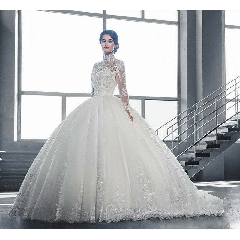 d15290aa1c6 Details about UK Womens Lace Long Sleeve Wedding Dresses Ball Gown White Plus  Size Bride