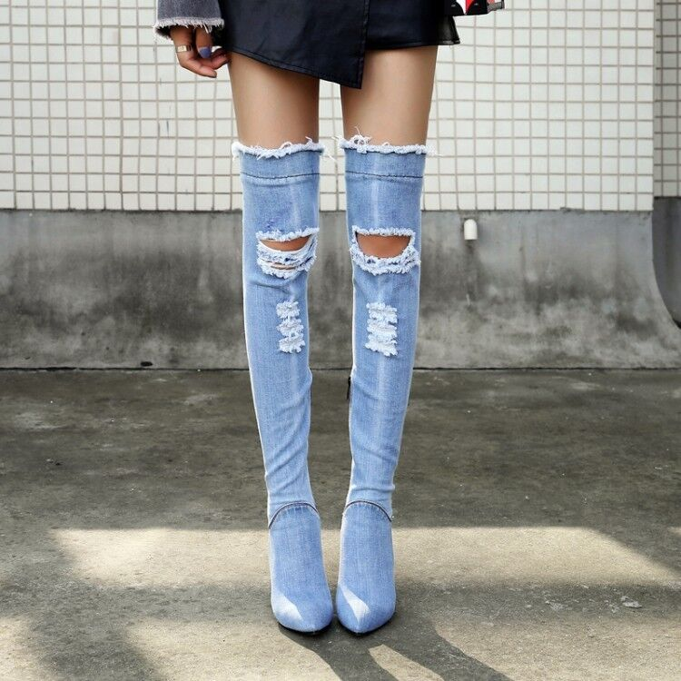 4bcdebfae5b Details about Womens Stretch Denim Thigh High Over Knee Jean Boots Pointy  Toe Shoes High Heels