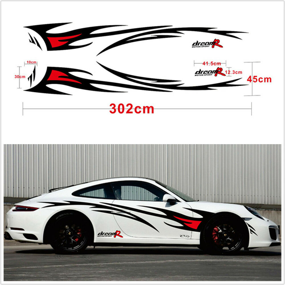 Details about 2pcs car body side black red flame graphics design decor vinyl decals stickers