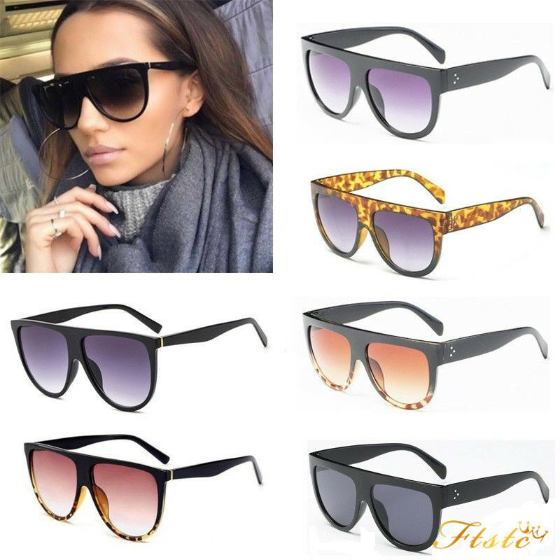 3ca1eb6a786 Details about Black Flat Top Shadow Sunglasses Women Tortoise Shield Luxury  Oversized Glasses