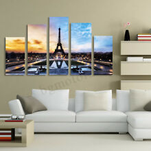 5pc/Set Modern Eiffel Tower Picture Canvas Print Home Decor Wall Art