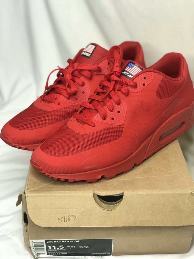 check out be44f f4b49 Details about NIKE AIR MAX 90 RED INDEPENDENCE DAY DS SZ 11.5 KANYE OG INDY  1 RARE