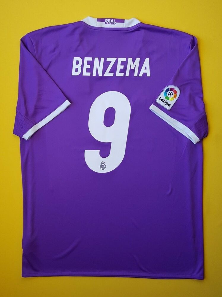 4cc8f4c42 Details about 5+ 5 Benzema Real Madrid jersey LARGE 2016 2017 away shirt  AI5158 soccer Adida